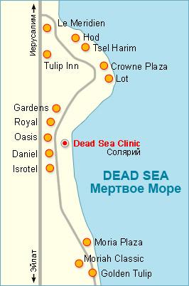 Карта Мертвого моря и курорта Эйн Бокек