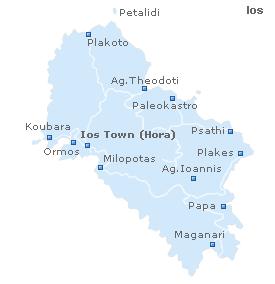 Карта острова Иос